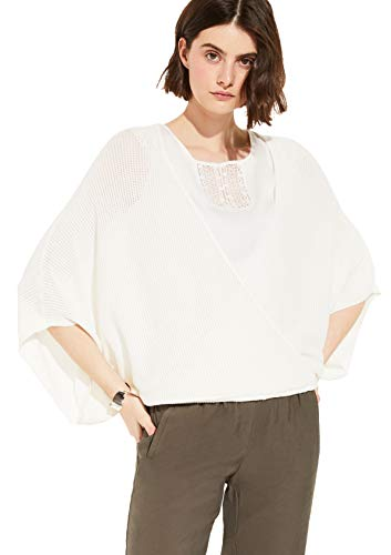comma Damen Poncho mit Ajour-Muster white 1