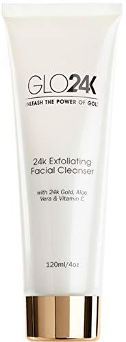 GLO24K Limpiador facial exfoliante con oro de 24 k, Microdermoabrasión antienvejecimiento con vitaminas C y E
