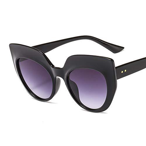 FENGHUAN Moda Ojo de Gato Mujeres Gafas de Soldecoración de uñas gradiente Lente Gafas Tendencias Hombres Gafas de Sol Sombra Negro Gris