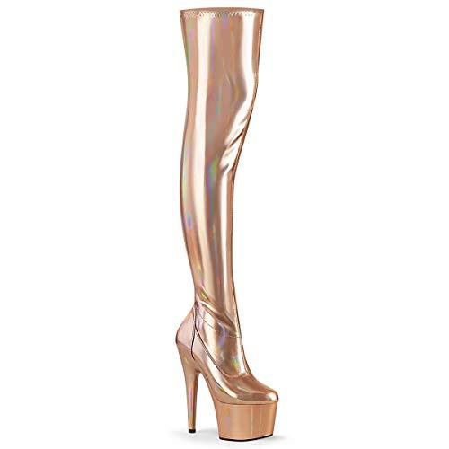 Pleaser Damen ADORE-3000HWR Plateau High Heels Overknee Stiefel Stretch Lack Rose Gold 44 EU