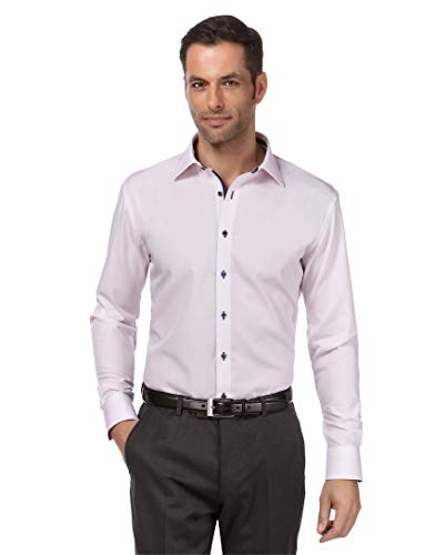 Vincenzo Boretti Herren-Hemd bügelfrei 100% Baumwolle Regular-fit Uni-Farben New-Kent Kragen - Männer lang-arm Hemden für Anzug Krawatte Business Hochzeit Freizeit Flieder 43-44