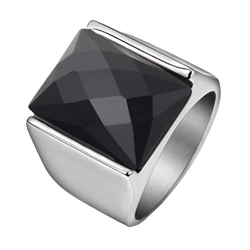 HIJONES Retro Anillo de Piedras Preciosas Corte de Diamante para Hombre Acero Inoxidable con Zirconia Cúbica Cuadrado Pulido Plata Negro Tamaño 19