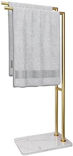 YIHANGG Toallero con Base de mármol, Toallero de Metal de 2 Niveles Rejilla de Secado Independiente con Toallero, Toallero de Piscina fácil de Montar, 90 × 33 × 22Cm
