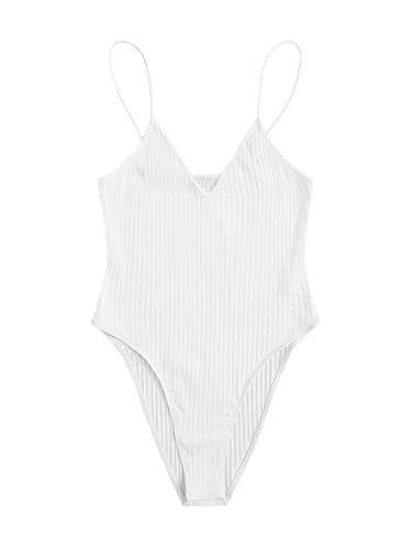 DIDK - Body de verano sin mangas con tirantes para mujer blanco S