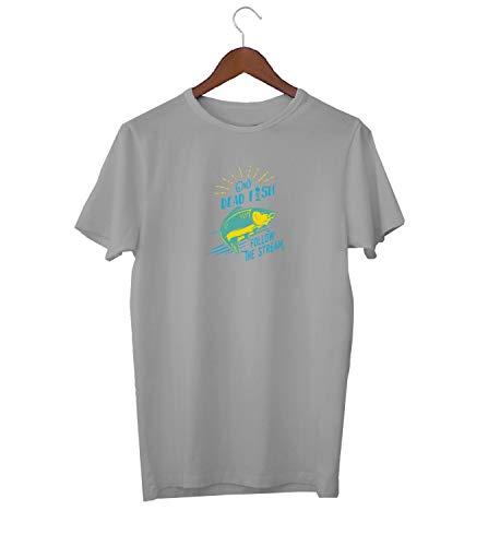 Dead Fish Swim In Stream Awkward Slogan_KK016245 Shirt T-Shirt Tshirt for Men Für Männer Herren Gift for Him Present Birthday Christmas - Men's - XL - Grey