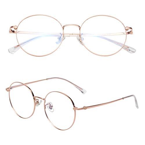 老眼鏡 軽い ブルーライトカット チタン合金 ケース付き メンズ レディース ゴールド 度数+2.50 L8304