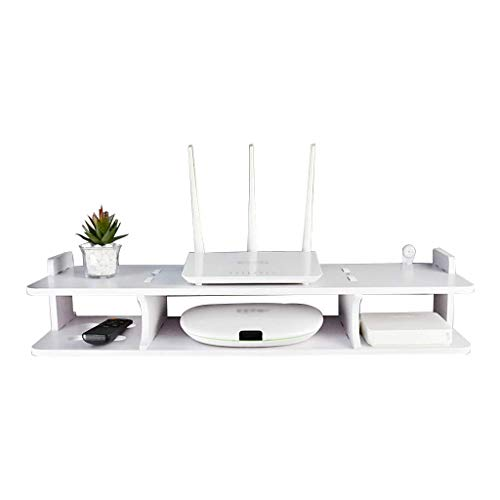JHSHENGSHI Extended Floating Shelf Rack for TV Components, The White Wall-Mounted Media Console Shelf is Used Living Room and Bedroom