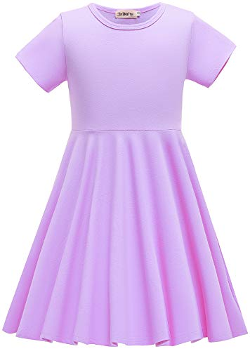 TriKalor Girls Dresses Short Sleeve Solid Color Skater Casual Twirly Dress with Pockets Lavender 10-12 Years