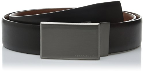 PERRY ELLIS Men's Portfolio Reversible Patterned Plaque Belt, Black/Brown, 30