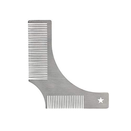 Baard Vormende Sjabloon, RVS Styling Sjabloon Gezichtshaar Grooming Trimming Tool voor Perfecte Lijnen (zilver)