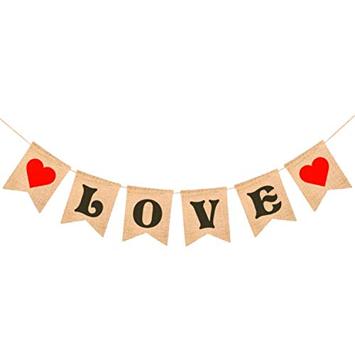 Valentines Day LOVE and Hearts Burlap Banner Now $6.97