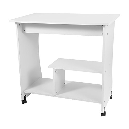 GYF Escritorio de madera para computadora de estudio, estación de trabajo, computadora portátil, mesa de almacenamiento con estante de teclado para el hogar y la oficina de trabajo estudio