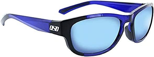 Optic Nerve Vesper Sunglasses: Shiny Navy/Black with Smoke Blue Mirror Lens