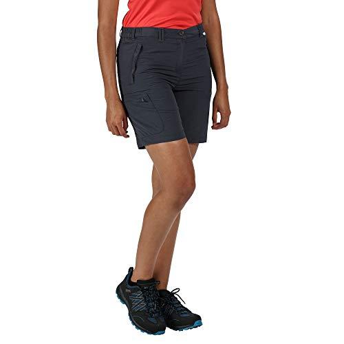 Regatta Chaska II-Pantalón Corto de Senderismo Ligero y de Secado rápido Shorts, Mujer, Seal Grey, 14