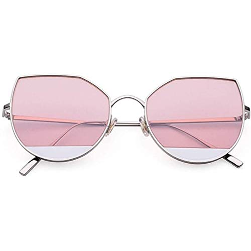 ZHANG Gafas de Sol Ojo de Gato de Titanio Puro Ultraligero Gafas de Sol de Moda Salvaje para Mujer Marco Plateado Protección de Lente Rosa