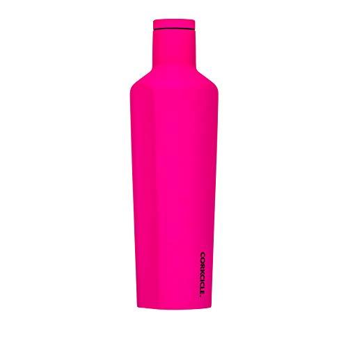 Corkcicle Colección de luces de neón de Canteen – Botella de agua y termo – Triple aislamiento de acero inoxidable irrompible, rosa neón, 25 onzas