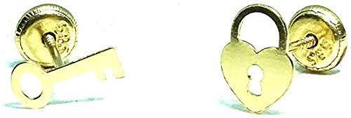 Pendientes oro 18k, niña/mujer candado con llave del amor, medida de la...