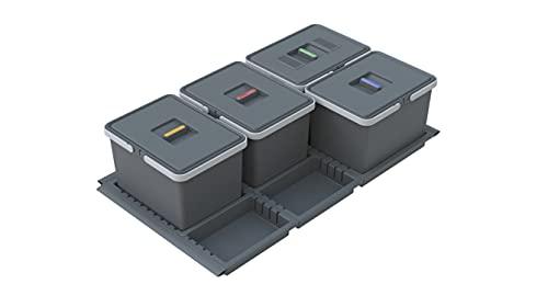 Elletipi PTC22 09050 2F Metropolis - Pattumiera Differenziata da Cassetto per modulo 90 in appoggio con profili in gomma auto adattanti, 81-83 x 46-49x 22 cm