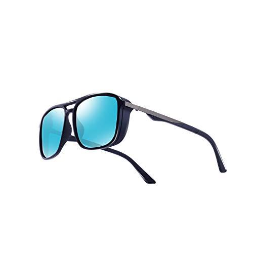 kimorn Gafas De Sol Polarizado Para Los Hombres Marco Cuadrado Unisexo Deportes Al Aire Libre Gafas Clásico K0623 (Mate-Azul&Azul)