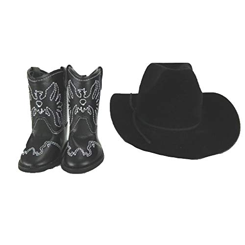 American Fashion World Black Cowboy Hat and Boots made to fit 18 inch dolls such as American Girl Dolls