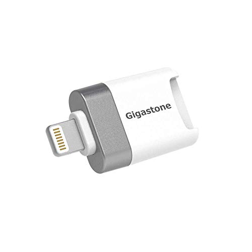 [Apple MFI Certified] Gigastone iPhone Flash Drive, MicroSD Card Reader, Lightning for iPhone and iPad, App for iOS, 4K Video Player Drone GoPro Camera, Backup Photos and Videos from Social Medi