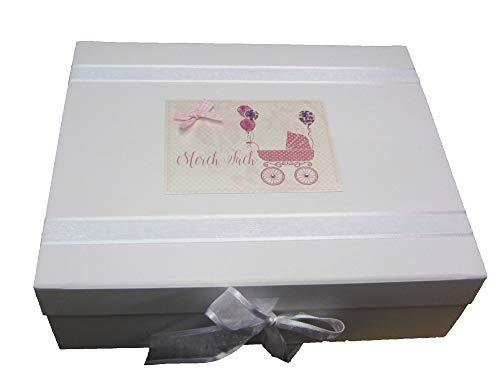 White Cotton Cards WDTP2X Boîte souvenir pour landau Motif Merch Fach Rose