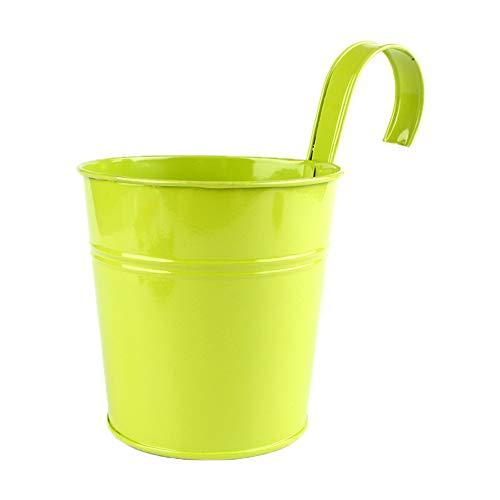 Fablcrew Pot pour Plantes et Fleurs en métal à Suspendre pour décorer la Maison et Le Jardin avec Crochet Amovible 1 pièces Size 10 * 8 * 15.5 cm (Vert)