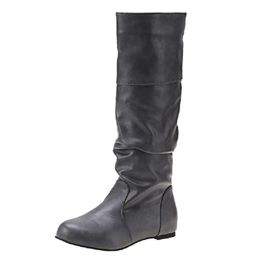 Botas hasta La Rodilla para Mujer, Botas Largas Dobladas, Botas De Cuero para Montar, Botas De Caballero, Estilo Vaquero Occidental, Moda Vintage, Zapatos De Gran Tamaño,Grey-34