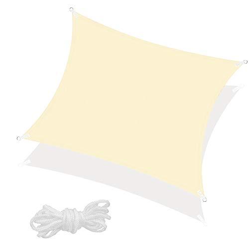SPRINGOS Sonnensegel inkl. Abspannleine wasserabweisend Sonnenschutz Schattensegel Segeltuch für Garten Terrasse Balkon Patio Wetterschutz Windschutz Beschattung Schattenspender (Ecru Quadrat 4x4 m)