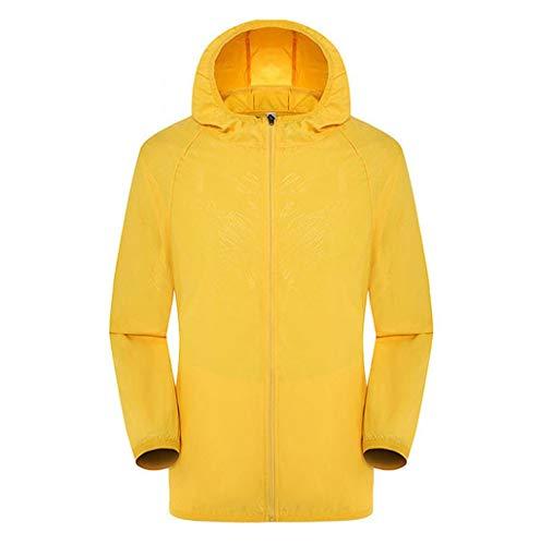 Skxinn Unisex Jacke Herren Regenjacke Langarm Jacke Windbreaker Jacke Mit Kapuzen Streetwear Freizeitjacke mit Reißverschluss Übergangs Windbreaker Outdoor Regenjacke(Z02-Gelb,XXX-Large)