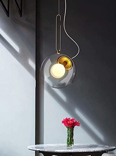Lámpara colgante de burbuja de vidrio transparente, decoración de metal dorado, lámparas de techo esféricas de vidrio para dormitorio, restaurante, lámpara de araña...
