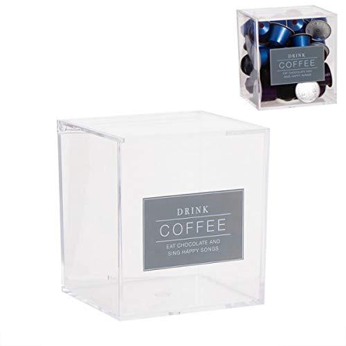 Deco Line Essentials - Caja para 40 cápsulas de Nespresso, Cristal acrílico, 13 cm