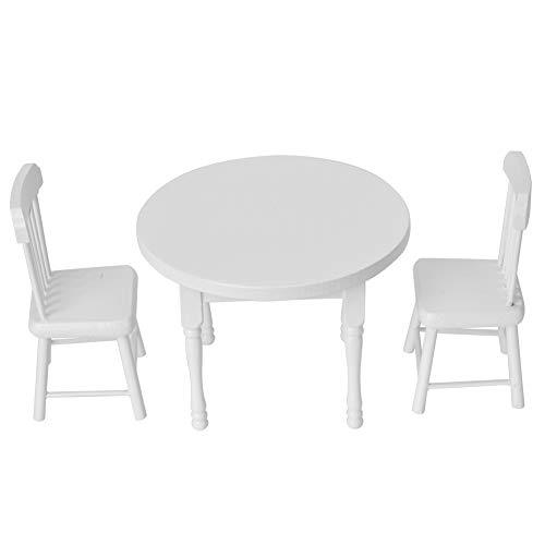 HEEPDD 1:12 Haus Miniatur Esstisch Stuhl, Holzmöbel Set Tischstuhl Simulationsmöbel