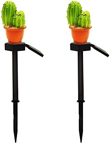 2 SZTUK Ogród LED Światła Ścieżki Słoneczna Noc Krajobraz Światła Kaktus Kształt Kaktusa Lampa Trawnik Wodoodporna Ganek Deck Patio Dekoracja
