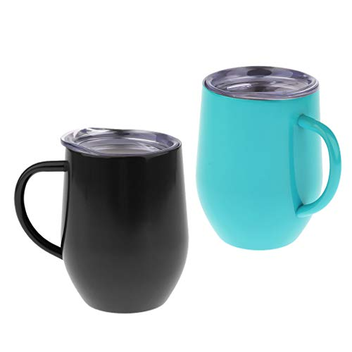 harayaa 2pcs 12oz Stainless Steel Double-Wall Insulated Wine Tumbler with Lid & Handle