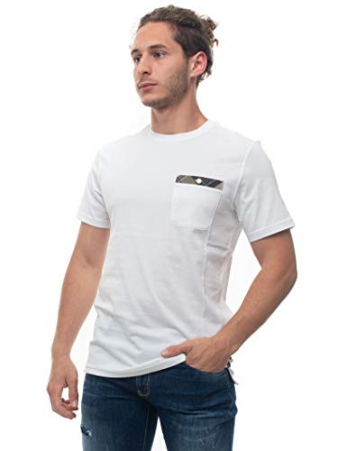 Barbour T-Shirt mit Rundhalsausschnitt, halblanger Ärmel, BATEE0407, weiß, Baumwolle für Herren, Weiß XXL
