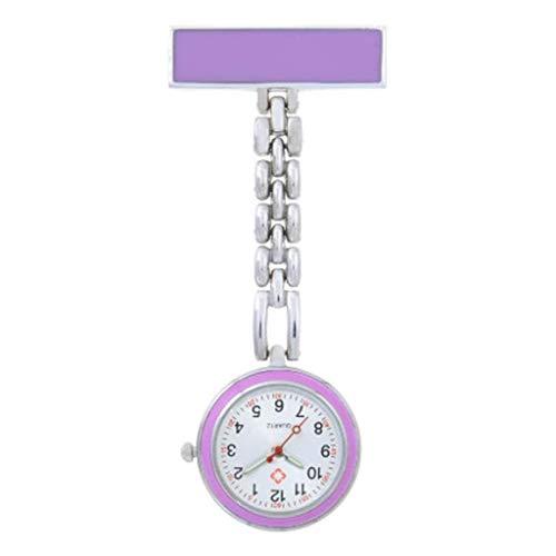 KSW_KKW Cadena de bolsillo for mujer Enfermera del clip de la aleación del reloj de la enfermera del reloj reloj colgante colgante del reloj del reloj de la broche de pecho reloj de bolsillo del cuarz