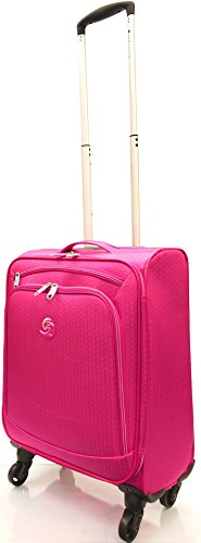 21'/55cm Ultra Lightweight Travel Carry On Cabin Hand Luggage Suitcase with 4 Wheels, Approved for Ryanair, Easyjet, British Airways, Virgin Atlantic, Flybe and Many More (21' Carry-on, Pink)
