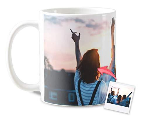 Getsingular Tazas Desayuno Personalizadas con el Interior y asa de Color | con Tus Fotos y Texto | Tazas impresión (Blanca)