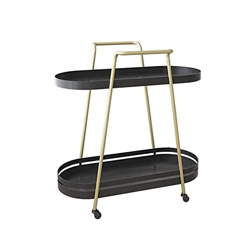 Vardagsrum soffbord, metall sidobord med tyst universal hjul köksvagn hylla balkong mellanmål bord, grön, 60 * 25,3 * 62,5 cm