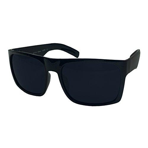 XL Men's Big Wide Frame Black Sunglasses - Extra Large Square 148mm