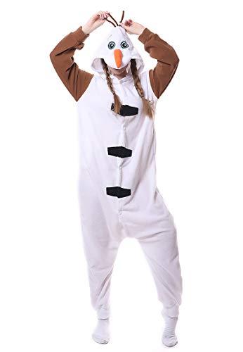 BESUURAN Relaxo Kostüm Olaf Onesie Jumpsuit Schneemann Relax Kostuem Pyjama Weihnachten Halloween Schlafanzug Cosplay Erwachsene Karneval Olaf M
