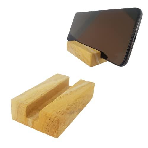 Soporte Móvil Mesa elaborado en Piedra Natural Tipo travertino, úsalo como pisapapeles, Elegante Base para teléfonos con Funda, de hasta 12 milímetros de Grosor. 8x5x2cm (TRAVERTINO Amarillo)