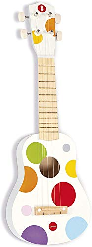 Janod Kids Wooden Toy Ukulele 'Confetti' - Kids Musical Instrument - Musical Early Activities Toy - From 3 Years Old, J07597