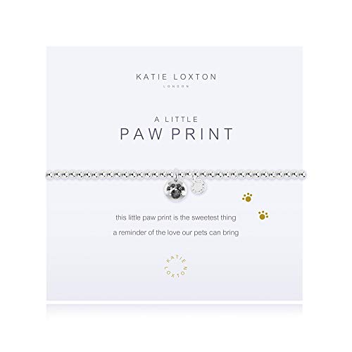 Katie Loxton A Little Pet Paw Print Silver Women's Stretch Adjustable Charm Bangle Bracelet