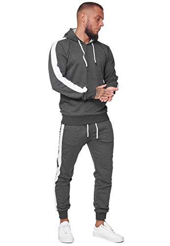 Code47 Herren Jogginganzug Trainingsanzug Männer Sportanzug Fitness Fitnessanzug Outfit Streetwear Jogginghose Hoodie-Sporthose Sportbekleidung Comfort Pullover Fit (M, Antrazit)