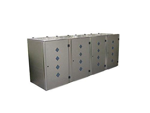 Gero metall Müllbehälterbox Eleganza Raut für Vier 240 Liter Mülltonnen