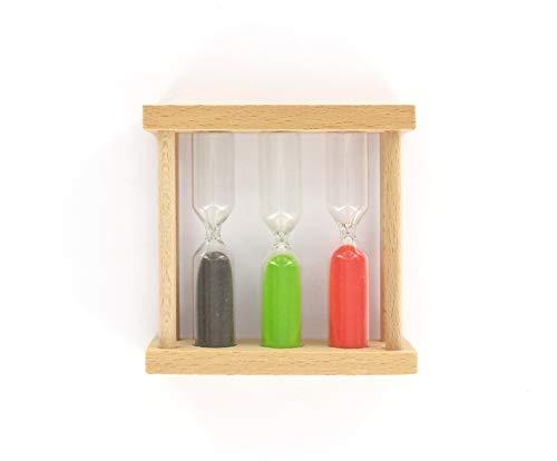 FACKELMANN Tee-Sanduhr 3,5,8 Minuten, Holz, Braun, ca. 9x9x2,8cm