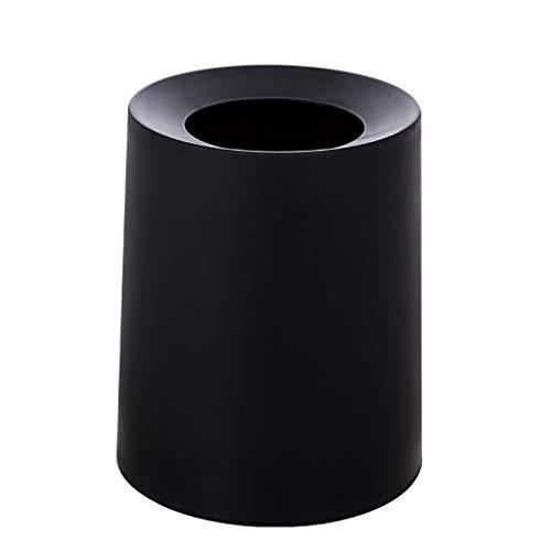 Poubelle- Poubelle, matériel PP ordures déchets Poubelle avec amovible Seau intérieur, salle de bains, toilettes, toilettes (Color : Black)