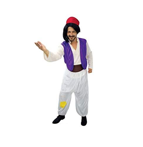 LBA Disfraz de Árabe, tipo Aladdín. Contiene: Camisa con chaleco, Pantalón, Fajín y Gorro.Talla única de adulto